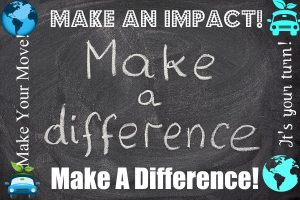 make a difference motivational phrase handwritten with white chalk on blackboard